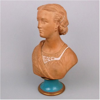 A Watcombe terracotta bust of Alexandra Princess of Wales.