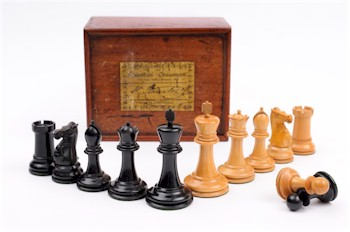 A Staunton pattern chess set (FS10/484) in the usual boxwood and ebony.