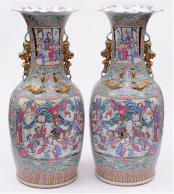 An impressively large pair of Canton vases nearly 80cm high.