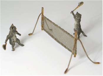 Austrian Cold Painted Bronze Cats Playing Tennis.