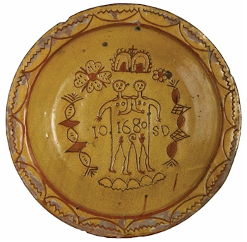 A Donyatt pottery charger depicting the Ilse Brewers twins (Courtesy South West Heritage Trust).