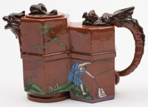 a watcombe torquay pottery teapot after a design by christopher dresser (fs24/491).