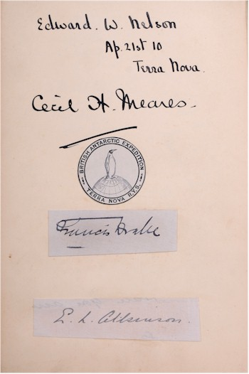 An autograph album containing signatures of crew of the Terra Nova Expedition.