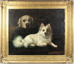 A Pomeranian Cross and a Yellow Labrador in an interior, attributed to Lillian Cheviot