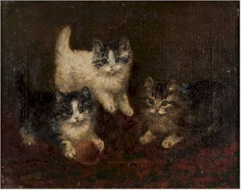 The first of a pair of paintings of kittens by Frederick French (1883-1916) that