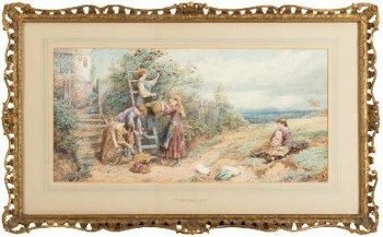 The Elderberry Gatherers (FS24/292) by Myles Birket Foster (1825-1899) sold in Exeter