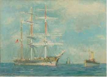 Henry Scott Tuke (1858-1929) - Off Falmouth, A Barque at Anchor with a Tug in Attendance