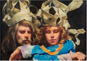 The Painter with Mary in Newspaper Magi-Fool's Hats by Robert Lenkiewicz (1941-2002),