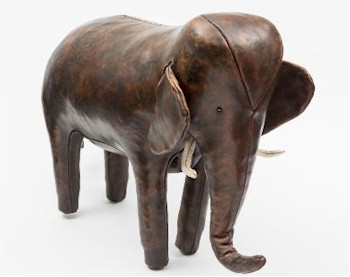 A Leather Foot Stool in the Form of an Elephant, retailed by Liberty (FS26/990)