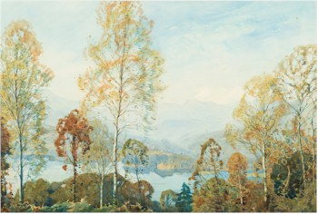 Autumn Morning, Windermere (FS26/498), a watercolour by the artist Alfred Heaton