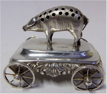 A rare late George III Silver Table Top Novelty Toothpick Holder, London, 1819 (FS29/151).