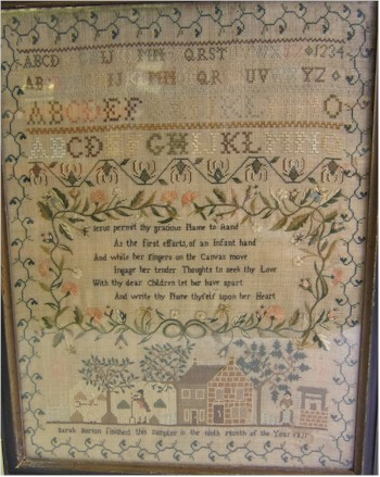 An 1815 Needlework Sampler produced at the time of the Battle of Waterloo.