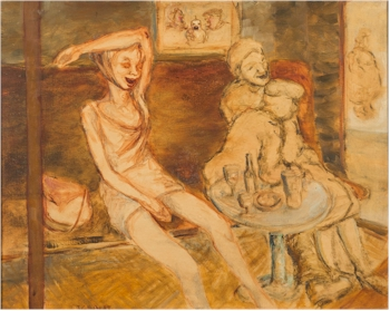 Jim Gilbert (1933-1995): Sheila Drunk (FS33/383). Oil on canvas. 40x50cm. Estimate £80-£120.