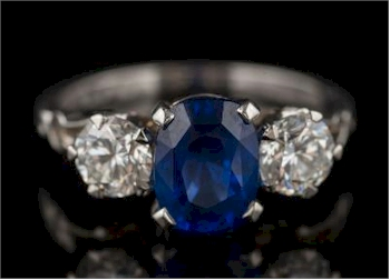 A Sapphire Diamond Three-stone Ring (FS34/404) offered in our April 2017 Fine Sale,