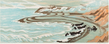 Clifford Cyril Webb (1895-1972): Gathering Sea Coal, Northumberland. Linocut in