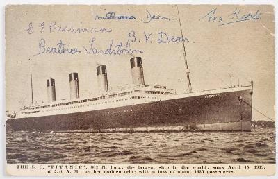 A postcard of 'SS Titanic' signed by five survivors: Beatrice Sandstrom,