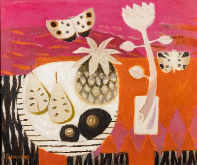 Mary Fedden (1915-2012): The Red Table (CC4/114) offered in our One Day 20th Century and Contemporary Sale starting on 9th September 2020 at our salerooms in Exeter, Devon.