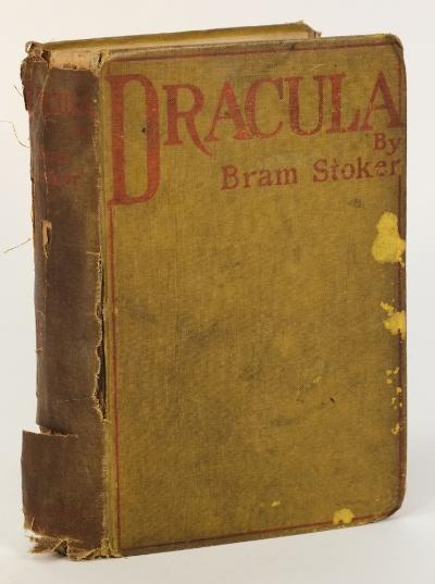 STOKER, Bram - Dracula original yellow cloth with red lettering, very worn, 8vo, ix; (i); 390 pages [half-title present], two neat inscriptions on front endpaper one later the other dated 'June, 1897', Archibald Constable & Co, first ed, 1897. * bound without the catalogue, and advert page for 'The Shoulder of Shasta,' this indicates the true first edition.