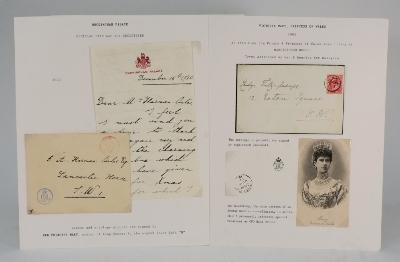 Royal Memorabilia. A manuscript letter on Buckingham Palace letterhead from Princess Mary, sister of George V, to Mr Harman Oates thanking him for a present, dated December 16th 1920, with the cover, also in her hand; a cover addressed to Lady Fitz-george of 12 Eaton Square in the hand of Victoria Mary, Princess of Wales, bearing her monogram and postmarked 1904; and another cover in the hand of Princess Victoria of Wales, sister to George V.