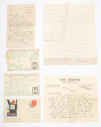 WILLIAMSON, Henry (1895-1977) - 3 signed postcards, 2 signed letters, and 1 typed letter signed, to Mrs Mitchell of Hatherleigh, a family friend. Covering topics such criticism of her son's poem, the whereabouts of his various children, JC Squire's excellent review of the ''Pathway'', Williamson's new girlfriend and her troublesome mother, etc. ( 1929-1949, but 3 n.y,).