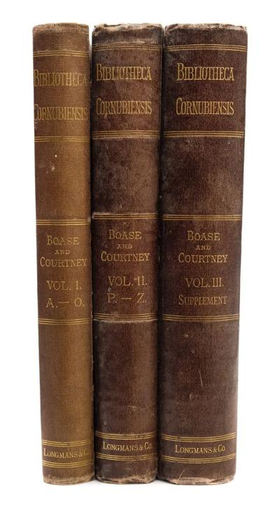 BOASE, George Clement & COURTNEY, William Prideaux - Bibliotheca Cornubiensis 3 vols, original cloth re-backed, 4to, 1874-82.