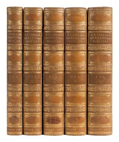 Sale BK19; Lot: 0122: LOUDON, JC - The Architectural Magazine, and Journal of Improvement in Architecture, Building, and Furnishing 5 volume set, illustrated, full gilt calf, 8vo, 1834-38 [all published]. * signed binding.