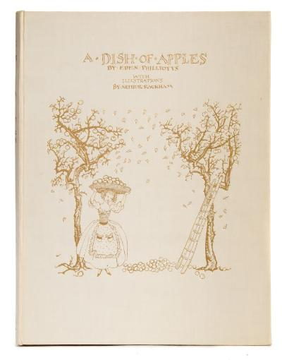 Sale BK19; Lot: 0150: RACKHAM, Arthur [ Illustrator ] - A Dish of Apples 3 colour plates, original pictorial cream coloured gilt cloth, 4to, signed limited edition of 500 copies, Hodder & Stoughton, 1921. * nice clean copy.
