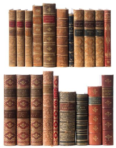 Sale BK19; Lot: 0177: BINDINGS Maxwell, WH - Life of Field-Marshal His Grace the Duke of Wellington, 3 vols, cont half red calf, contrasting labels, 8vo, 1839; with 18 other leather bound volumes.