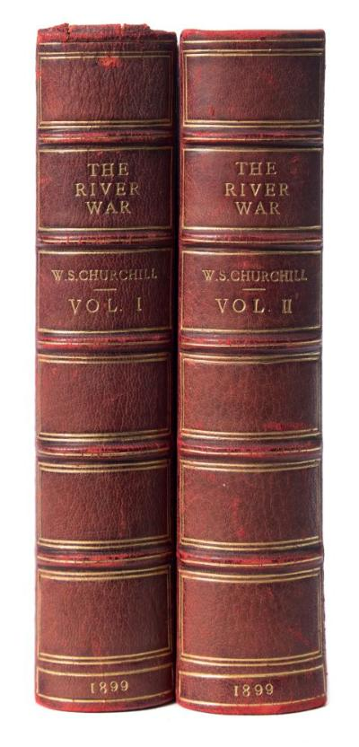 Sale BK19; Lot: 0328: CHURCHILL, Sir Winston Leonard Spencer the River War an Historical Account of the Reconquest of the Sudan, 2 vols, illustrated, 23 maps, plans, half morocco, 8vo, Longmans, Green, & Co, 1899.