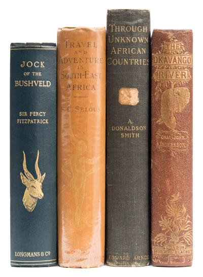 Sale BK19; Lot: 0372: ANDERSSON, Charles John - The Okavango River; A Narrative of Travel, Exploration and Adventure, original cloth, 8vo, 1861; with SMITH, A Donaldson - Through Unknown African Countries, the 1st Expedition from Somaliland to Lake Lamu, original cloth, 8vo, 1897; with SELOUS, Frederick Courtney - Travel & Adventure in South East Africa, original cloth, 8vo, 1893 and one other.