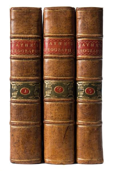 Sale BK19; Lot: 0420: PAYNE, John - Universal Geography formed into a new and entire System; describing Asia, Africa, Europe, and America ... (etc), 3 vols, cont calf, 3 hand coloured frontispieces, 39 plates, 4to, Dublin, 1794.