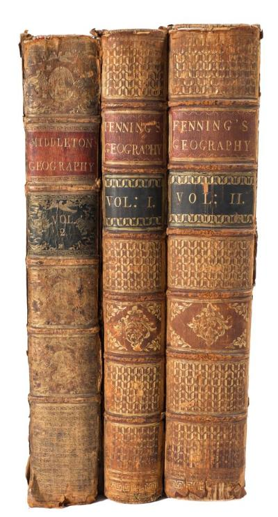 Sale BK19; Lot: 0551: FENNING, D & COLLYER, J - A New System of Geography or, a General Description of the Whole Known World ... Europe, Asia, Africa, and America ... (etc), 2 vols, frontis, 36 engraved plates, 15 maps, cont calf hinges weak, folio, J Payne & J Johnson, 1772-73; with - Middleton, C T, A New and Complete System of Geography : vol. 2 (only), 43 engraved plates, 14 maps, calf worn, folio, 1778. * sold as a collection of plates, not subject to return.