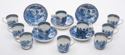 A set of six late 18th/early 19th Century Spode porcelain coffee cups, seven saucers and three similar Chinese coffee cups, transfer printed in blue with the 'Two Temples' pattern (some damage).