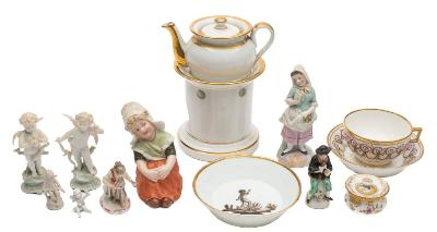 A mixed lot of Continental porcelain including a gilt decorated veilleuse; a Compte D'Artois Paris cup and saucer painted with floral swags; a Paris saucer painted en grisaille etc.
