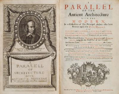 Sale BK19; Lot: 0113: FREART, Roland - A Parallel of the Antient Architecture with the Modern, in a Collection of Ten Principal Authors who have Written upon the Five Orders Engraved portrait frontispiece, 40 eng. plates, full calf rebacked, folio, third ed, 1723.