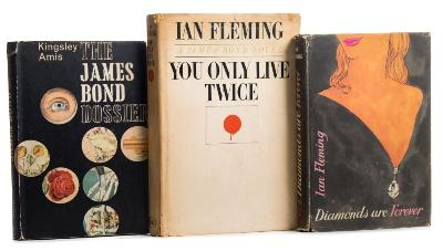 Sale BK19; Lot: 0214: FLEMING, Ian - Diamonds Are Forever original black cloth lettered in silver in worn but largely complete soiled d/w, 8vo, stain (wine ?) on half-title and top corner of the title-page, light foxing mainly to the page edges, Jonathan Cape, first ed, 1956; with - Amis, Kingsley, the James Bond Dossier, original cloth in defective d/w, 8vo, Jonathan Cape, first ed, 1965; with a copy of You Only Live Twice, New American Library, 1964.