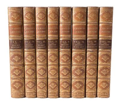 Sale BK19; Lot: 0258: NIEBUHR, BG - The Collected Lectures Dr. Leonhard Schmitz (edit), 8 vol. set, full tan gilt calf, 8vo, Walton & Maberly, 1852-53.