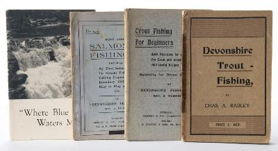 RABLEY, Chas. A - Devonshire Trout Fishing illustrated title-page, 2 colour plates of flies, original card covers, 8vo, nd c1912; with - Hughes, A, Trout Fishing for Beginners : original card covers, 8vo, Gregory, Tiverton, c1900s; with - Hughes, A, More About Salmon Fishing, original wrappers, 8vo, Gregory, Tiverton, c1910s; with one other.