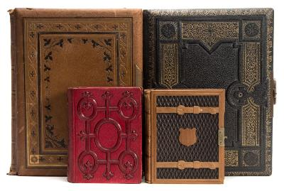 PHOTOGRAPH ALBUMS a collection of four ornate carte de visita albums, various sizes, late 19th cent.