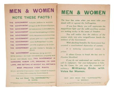 Sale BK19; Lot: 0528A: SUFFRAGETTE Archive ... including a four page 'In Memoriam' for Emily Wilding Davison (1913) Seven suffragette broadsides and leaflets, including two on forcible feeding, and one of twelve pages about police brutality (1911) with a ten page typescript for the memorial service for Millicent Garrett Fawcett (1929)and other ephemera relating to the service; with broadsides and leaflets for the National Union of Societies for Equal Citizenship, including their 'Manifesto to the Women Voters of Great Britain'. Seven copies of 'The Woman's Leader' newspaper (1928/9); with a series of correspondence mainly from Ray Strachey (wife of Oliver Strachey) to Miss IK Hancock, regarding parliamentary elections, and the NUSEC.