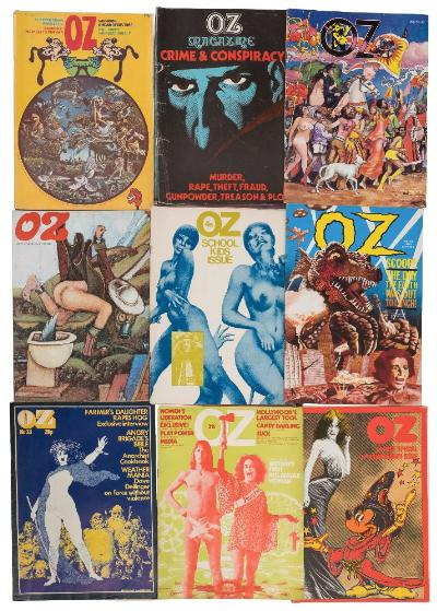 Sale BK20; Lot: 0008: COUNTER CULTURE - Oz 15 copies (some signs of use) original wrappers, Nos. 26, 28, 29, 30, 31, 33, 35, 36, 38, 40, 41, 43, 44, 46, 47.