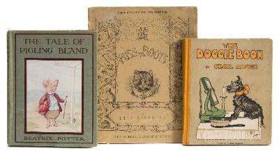 Sale BK20; Lot: 0107: ALDIN, Cecil - The Doggie Book, illustrated, original pictorial boards, small 4to, loose in binding, Playtime Picture Book No 5, Lawrence & Jellicoe, (1909) with - Speckter, Otto (illust) Puss in Boots, original pictorial wrappers, small 4to, John Murray, 1856; with - Potter, Beatrix, the Tale of Pigling Bland, original pictorial boards, 8vo, Warne, 1913.
