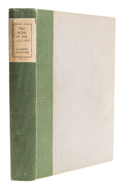 Sale BK20; Lot: 0122: GRAHAME, Kenneth - The Wind in the Willows illustrated by Ernest H Shepard - original green buckram backed paper covered boards with printed paper title-label on the spine, slightly rubbed, 4to, limited edition of 200 copies numbered and signed by the author and illustrator, Methuen, 1931.