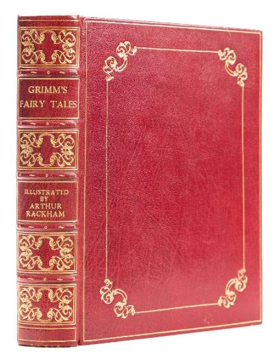 Sale BK20; Lot: 0147: RACKHAM, Arthur (illustrator) - Grimm's Fairy Tales, rebound in full crimson gilt morocco signed Bayntun, original covers bound in at the rear, 40 colour plates, 4to, Heinemann, no date.