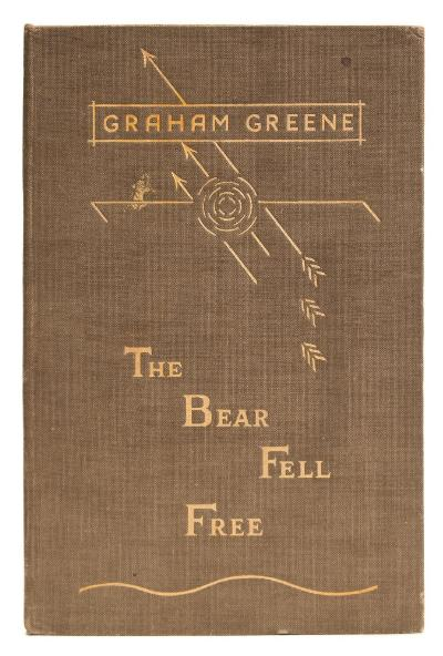 Sale BK20; Lot: 0187: GREENE, Graham - The Bear Fell Free original gilt cloth, 8vo, Limited Edition of 285 copies signed by GRAHAM GREENE, Grayson, 1935.