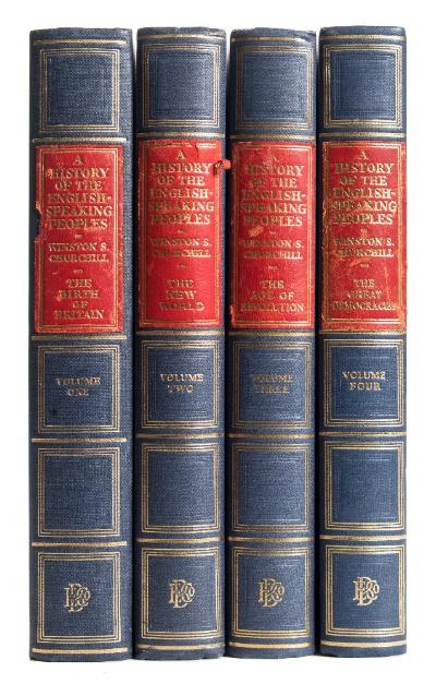 Sale BK20; Lot: 0225: CHURCHILL, Winston S - History of the English Speaking People ' Chartwell Edition,' 4 vols, original blue cloth with red morocco title - labels which are a little scuffed, tall 8vo, SIGNED COPIES, presentation copies by Winston Churchill, presented to Mrs Arnison ( friend of Lady Churchill ), loosely inserted is a TLS from Clementine Churchill, Educational Book Company, 1956-58.