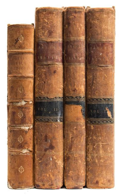 Sale BK20; Lot: 0258: HOSKIN, GA - Travels in Ethiopia above the second cataract of the Nile ... frontis, map, plates, complete, half calf board detached, 4to, 1835; with - Bruce, James, Travels to Discover the Source of the Nile, 3 of 5 volumes (only), full calf weak hinges, plates, 4to, 1790.