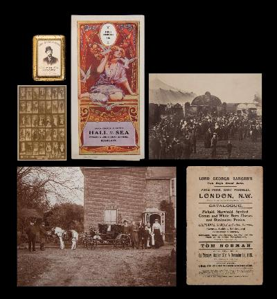 Sale BK20; Lot: 0310: CIRCUS Lord George Sanger Archive including original photographs, advertising posters, programmes, broadsides, ALs, original score for a pantomime (1883), and the catalogue for the deceased sale of Sanger's estate, by Tom Norman in 1905, etc, etc.