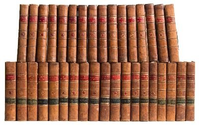 Sale BK20; Lot: 0023: THE REPERTORY OF ARTS & MANUFACTURES consisting of original communications, specifications of patent inventions ... (etc) - THIRTY-FIVE VOLUMES, a continuous run, First series volume 1 to 16 [ being a complete set of the first series ]. Second series volume 1 to 19, 684 ex 686 copper engraved plates, attractive cont calf, 8vo, 1794-1811.