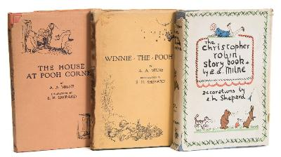 Sale BK20; Lot: 0131: MILNE, AA - Winnie the Pooh illustrated EH Shepard, original green cloth in stained but complete d/w, front endpaper stuck to half - title, 8vo, Methuen, first ed, 1926; with - The House At Pooh Corner, original pink cloth in defective d/w, bookplate stuck to verso of the frontispiece, 8vo, Methuen, first ed. 1928; with - The Christopher Robin Story Book, original blue cloth in tatty d/w, bookplate on front pastedown, 8vo, Methuen, first ed. 1929.